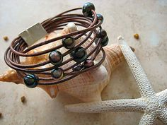 "Diva Tahitian Style Baroque Fresh Water Pearl & Leather Bracelet ""FREE SHIPPING""   by LeatherDiva, $59.00"