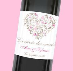 Etiquette de bouteille mariage douce et romantique, réf.N300542