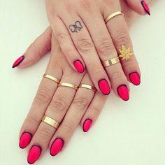 #Red #Black #GoldRings #BowTattoo