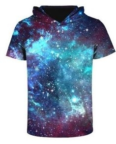 3D galaxy t shirt with hood pullover hoodies short sleeve for men