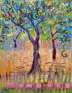 Tree Art Images - Dancing Trees - a  print by PaintingsJudithShaw on Etsy -only $25