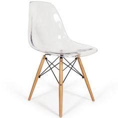 Chaise design coque transparente et bois prisma - Chaise dsw transparente ...