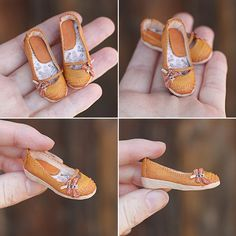 Shoes for a doll. Made of polymer clay and synthetic leather, covered with acrylics.