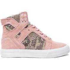 Supra + Elyse Walker Skytop Wedge Suede Sneakers (1.010 ARS) ❤ liked on Polyvore featuring shoes, sneakers, hidden wedge heel sneakers, hidden wedge sneakers, supra footwear, snake skin sneakers and snakeskin sneakers