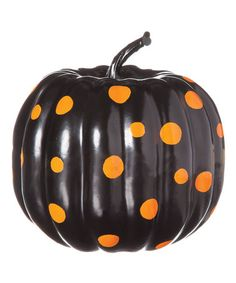 Another great find on #zulily! Black Polka-Dot Pumpkin #zulilyfinds
