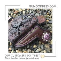 """What a B-E-A-UTY! What a high quality leather holster. I got the Annie Rose Cut Out with double stitching (which is very high quality) and purple crystals to match the stitching. Very beautiful. I have worn this out and about and it holds my Glock 42 very snug and securely. I have accidentally hit the crystals on things with my hip, and they are still on and are not loosening at all. You won't regret your decision to purchase this holster! Far exceeded my expectations!"" Get it at…"
