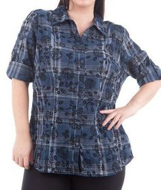 Blue Tartan Floral Print Shirt via Plus Size Online Clothing Store. Click on the image to see more!