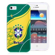 2014 FIFA World Cup CBF Badges TPU Back Cover for iPhone 5  5S - Green Yellow #fifa #cases #iphone5 #football #worldcup #brasil