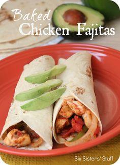 Baked Chicken Fajitas from Sixsistersstuff.com