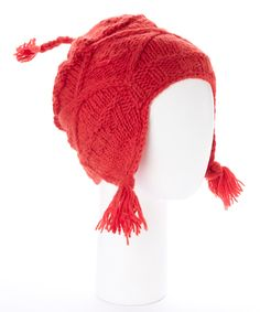 Another great find on #zulily! Red Wool Cable Ear-Flap Hat by Leopards & Roses #zulilyfinds