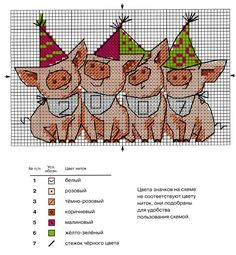Pig Cross Stitch Pattern with Readable Key Xmas Cross Stitch, Cross Stitch Boards, Cross Stitching, Cross Stitch Embroidery, Hand Embroidery, Cross Stitch Patterns, Cross Stitch Freebies, Cross Stitch Animals, Perler Patterns