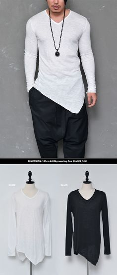 Tops :: Tees :: Unbalance Twist Cut Slub Vneck-Tee 524 - Mens Fashion Clothing For An Attractive Guy Look