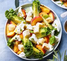 Pair this salad with barbecued chicken as part of a summer menu. Made with peaches, mozzarella and a lemon and caper dressing, it's also great on its own Bbc Good Food Recipes, Vegetarian Recipes, Side Dish Recipes, Side Dishes, Dinner Recipes, Strawberry Rhubarb Crumble, Barbecue Chicken, Bbq, Salads