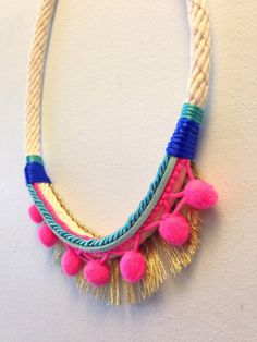 Pink Zahara Rope Necklace by EclipticDesign on Etsy