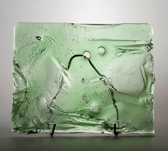 Lubomir Blecha, the glass relief, 1969, glassworks Borske Sklo, Novy Bor (Haida), M: 32,0 x 40,0 cm, Czechoslovakia