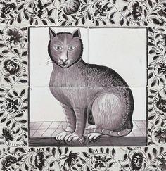 Голландская DELFT ПЛИТКА изображение кошки  CIRCA 1860-1880, Утрехт  Из четырех плиток, окрашенные в красный цвет с марганцевой сидящего кота, левой передней лапы на вершине мыши, в течение десяти пограничных плитки в кадре, каждый окрашены в красный марганца с арабески  15 3/8 в. (39 см.) квадрат, в современной деревянной рамке