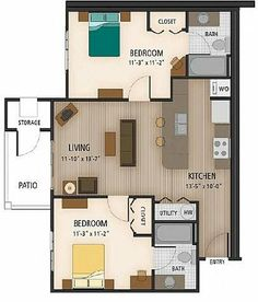 Floor plan of our 2 Bedroom, 2 Bathroom Classic. 850 square feet total.