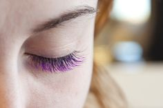 "Purple Eye Lash Extensions! So cool! I love it when a client wants to do something ""different"""