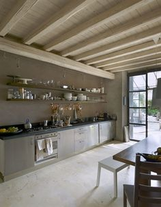 Spacious kitchen with stainless steel cabinets. white ceiling too.