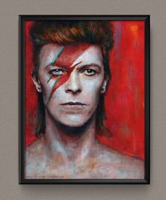 TOP Original art --DAVID BOWIE Portrait oil painting -- British glam rock, art rock, pop Glam star David Bowie CANVAS painting
