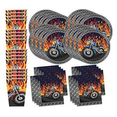 Motorcycle Biker Birthday Party Supplies Set Plates Napkins Cups Tableware Kit for 16 - http://partysuppliesanddecorations.com/motorcycle-biker-birthday-party-supplies-set-plates-napkins-cups-tableware-kit-for-16.html