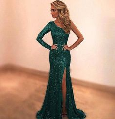 Sparkly Sequined Green Mermaid Prom Dresses 2018 Custom Made One Shoulder Long Evening Party Dress Sexy side Slit robe de soiree · loverlovebridal · Online Store Powered by Storenvy Best Party Dresses, Prom Dresses 2018, Sexy Party Dress, Sexy Dresses, Prom Gowns, Cheap Dresses, Mermaid Evening Dresses, Evening Gowns, Evening Party