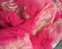 Pure Chiffon Saree witb Gota Jaal by Threadsandblocks on Etsy Saree Blouse Patterns, Saree Blouse Designs, Organza Saree, Cotton Saree, Chiffon Saree Party Wear, Indian Designer Outfits, Designer Dresses, Zardozi Embroidery, Bridal Makeover