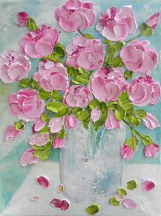 Breathtaking in it's beauty! From @kenziescottage Pale Pink Peonies Oil Painting, Peony Impasto Oil Painting, Anniversary, Wedding, Birthday, Floral Painting, #kenziescottage