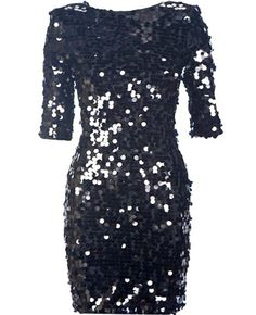 Infinite Galaxy Dress: Features an elegant bateau neck with deep scoop design to the rear, well-tailored elbow length sleeves, hundreds of glittering sequins covering the entire dress, and a sleek form-fitting silhouette to finish.