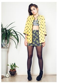 Polka dot blazer 60s yellow oversized boho jacket | Pop Sick | ASOS Marketplace