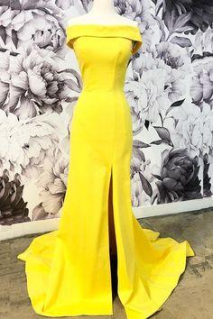 Bright Off-the-Shoulder Sheath/Column Prom Dress With Split,PL5135 on Luulla