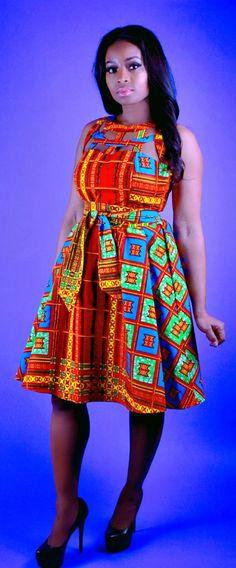 Nia - African Print Java Wax Print Dress.   Ankara | Dutch wax | Kente | Kitenge | Dashiki | African prints | Nigerian style | Ghanaian fashion | Senegal fashion | Kenya fashion | Nigerian fashion | Ankara crop top (affiliate)