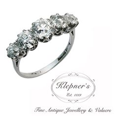 white gold vintage Art Deco diamond bridge ring, claw set with five graduated Old-Cut diamonds totaling approximately Stock Code: Vintage Diamond Rings, Art Deco Diamond, Art Deco Ring, Art Deco Jewelry, Antique Rings, Jewelry Shop, Antique Jewelry, Jewellery, Engagement Rings Melbourne