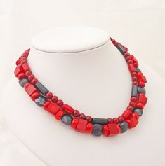 Red Coral and Blue Gold Sand Necklace, Blue and Red Necklace, Double Strand Necklace, UK Seller Red Necklace, Gemstone Necklace, Strand Necklace, Beaded Necklace, Red Coral, Blue Gold, Gold Sand, Jewelry Design, Unique Jewelry