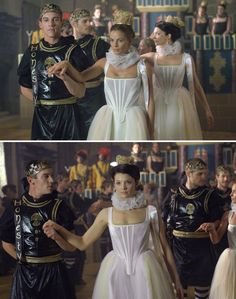 The Tudors (2007 - 2010) Starring: Jonathan Rhys Meyers as Henry VIII of England, Gabrielle Anwar as Margaret Tudor, Princess of England; Henry Cavill as Charles Brandon, 1st Duke of Suffolk and Natalie Dormer as Anne Boleyn. (click thru for larger image)