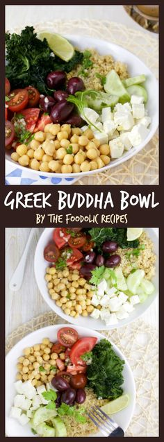 Greek Buddha Bowl is a great hearty vegetarian dish filled with Greek feta chickpeas kamut couscous cucumber tomato kale chips and kalamatas olives topped with a greek dressing for a healthy and colorful weeknight dinner. Easy Healthy Recipes, Veggie Recipes, Whole Food Recipes, Cooking Recipes, Easy Meals, Healthy Weeknight Dinners, Diet Recipes, Chicken Recipes, Recipies