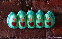 Peacock Peeps - make art with the leftover marshmallow Peeps you have from Easter! - by Lady Lucas Crafts