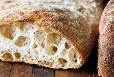 The ciabatta does require a simple sponge but it takes only a few minutes to put together the day before making the bread. Though the dough for ciabatta is very wet and sticky, resist the temptation to add more flour. Crusty Bread Recipe Bread Machine, Bread Recipes, Cooking Recipes, Biga Bread Recipe, No Knead Ciabatta Bread Recipe, Easy Recipes, Healthy Recipes, Baking Stone, Italian Bread