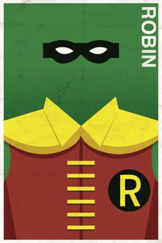 Vintage DC style Robin superhero poster: I'm completely digging these vintage style comic character posters by illustrator/designer Michael Myers. The stylized illustrations and digitally aged paper combine for a very cool effect.
