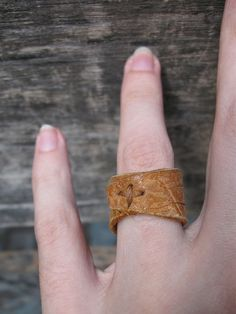 Paisley leather ring $10