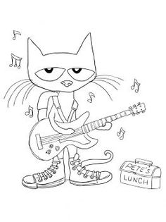Pete the Cat Rocking in my School Shoes coloring page | Super Coloring: