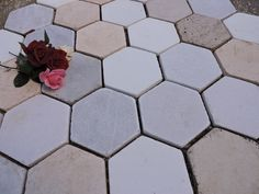 Greek marble tiles hexagon honed surface 16,5 cm side to side (approx 6,5 in ) white thassos, semiwhite kavala, yellow maronia. athanasmarble@gmail.com