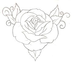 rose tattoo drawing simple outline traditional stencil tattoos metacharis deviantart drawings roses designs flash sketch sketches skull flower stencils line