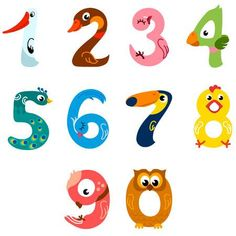Numbers like birds vector by KsenaShu on VectorStock® – Bird Supplies Numbers For Kids, Numbers Preschool, Alphabet And Numbers, Number Crafts, Number Art, Number Vector, Kid Fonts, Crafts For Kids, Arts And Crafts