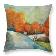 Landscape Throw Pillow featuring the painting In October by Vesna Antic