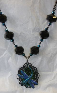Dragonfly irridescent blue green glass black by hudathotjewelry, $40.00