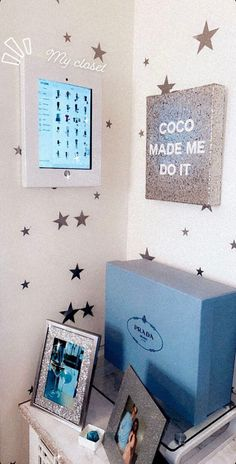 feeling like cher with Stylebook app - upper east side bedroom with virtual closet, star decals, prada and art