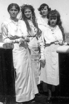 OTMA~ OLGA, TATIANA, MARIE & ANASTASIA ROMANOVA~ the four daughters of the last Tsar of Russia, Nicolas II