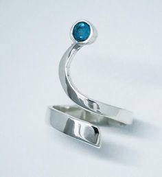 Blue topaz silver Trikemia wave ring, unique handmade sterling silver ring #SterlingSilverRings