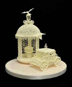Stunning ‪fairytale #‎wedding‬ cake topper of a gazebo & carriage made in royal icing x